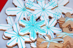Christmas cookies. Gingerbread snowflake, christmas cookies, blue Stock Image