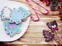 Christmas cookies gingerbread and decoration on wooden backgroun Royalty Free Stock Photography