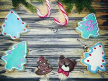 Christmas cookies gingerbread and decoration on wooden backgroun Stock Images