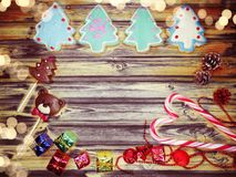 Christmas cookies gingerbread and decoration on wooden backgroun Stock Photography