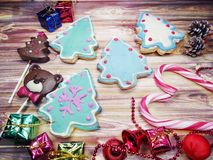 Christmas cookies gingerbread and decoration on wooden backgroun Royalty Free Stock Photos
