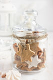 Christmas cookies in glass jar Royalty Free Stock Photography