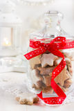 Christmas cookies in glass jar Royalty Free Stock Photo