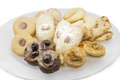 Christmas cookies. On a glass plate, shot taken with large depth of field DOF Royalty Free Stock Image