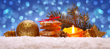 Christmas cookies and golden decoration . Stock Photos