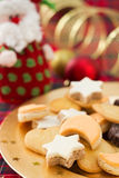 Christmas cookies on golden plate Stock Photography