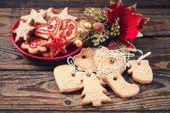 Christmas cookies handmade lies on wooden Stock Photo
