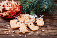 Christmas cookies handmade lies on wooden Royalty Free Stock Images