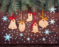 Christmas cookies handmade lies on wooden Royalty Free Stock Image
