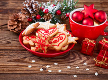 Christmas cookies handmade lies on wooden background. Royalty Free Stock Photos