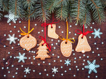 Christmas cookies handmade lies on wooden background. Stock Photography