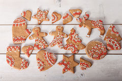 Christmas cookies and handmade retro toys Stock Photography