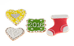 Christmas cookies 2016 with hearts and red boot on white background Royalty Free Stock Image