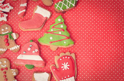 Christmas cookies. Christmas homemade gingerbread cookies, holiday concept Stock Photos