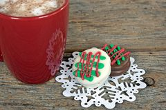Christmas cookies with hot chocolate drink Stock Image