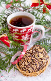 Christmas cookies with hot drink Royalty Free Stock Images