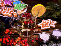Christmas cookies and hot punch in glass mug. Royalty Free Stock Photo