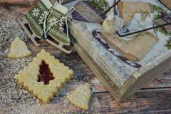 Christmas cookies with ice skates and powder sugar royalty free stock photo