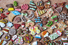 Christmas cookies with icing and sprinkles royalty free stock images