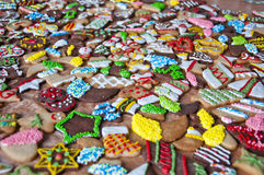 Christmas cookies with icing and sprinkles stock photo