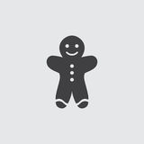 Christmas cookies icon in a flat design in black color. Vector illustration eps10 Royalty Free Stock Image