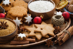 Christmas cookies and ingredients for baking, close-up Royalty Free Stock Image
