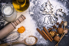Christmas cookies. Ingredients for baking Royalty Free Stock Images