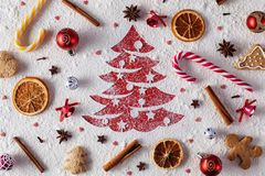 Christmas cookies, ingredients and decorations background royalty free stock photos