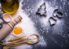 Free Christmas Cookies. Ingredients For Baking Royalty Free Stock Photos - 62403258