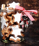 Christmas Cookies Inside Transparent Jar Royalty Free Stock Photography