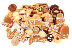 Christmas cookies isolated. Traditional czech christmas cookies isolated on the white background Royalty Free Stock Image