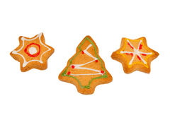 Christmas  cookies on isolated white background. Star, fir tree Royalty Free Stock Photo