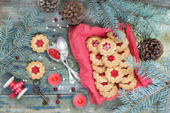 Christmas cookies with jam Royalty Free Stock Photos