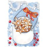 Christmas cookies in jar card vector illustration