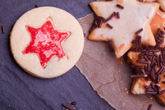 Christmas cookies with jelly and chocolate Stock Photography