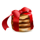 Christmas cookies knotted red ribbon Royalty Free Stock Images