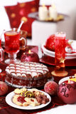 Christmas cookies with march pane cake Royalty Free Stock Photography