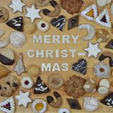 Christmas cookies and MERRY CHRISTMAS Stock Image