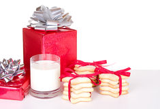 Christmas cookies and milk Royalty Free Stock Image