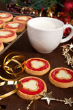 Christmas cookies with milk Royalty Free Stock Photos
