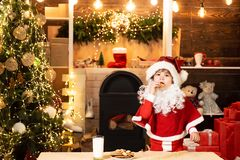 Christmas cookies and milk. Greeting Christmas card. Thanksgiving day and Christmas. Happy new year. Little Santa Claus