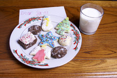 Christmas Cookies Milk and Note for Santa Stock Images