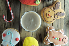 Christmas cookies and milk Stock Photo