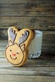 Christmas cookies and milk Stock Photo