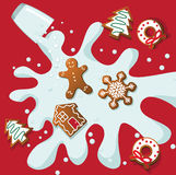 Christmas cookies and milk splash Royalty Free Stock Photo