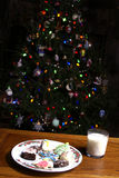 Christmas Cookies Milk and Tree Royalty Free Stock Photography
