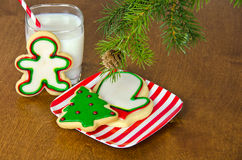 Christmas cookies and milk Royalty Free Stock Photography