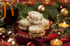 Christmas cookies and mulled wine Royalty Free Stock Photo
