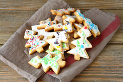 Christmas Cookies on napkin Stock Images