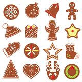 Christmas cookies. New Year bakery. Traditional seasonal decorated gingerbreads. Vector icons set. Christmas cookies. New Year bakery. Traditional seasonal Royalty Free Stock Photography
